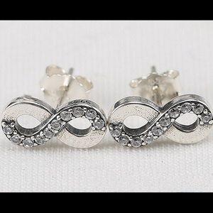 4f63f4b69 pandora Jewelry | Infinity Love With Clear Cz Stud Earrings | Poshmark